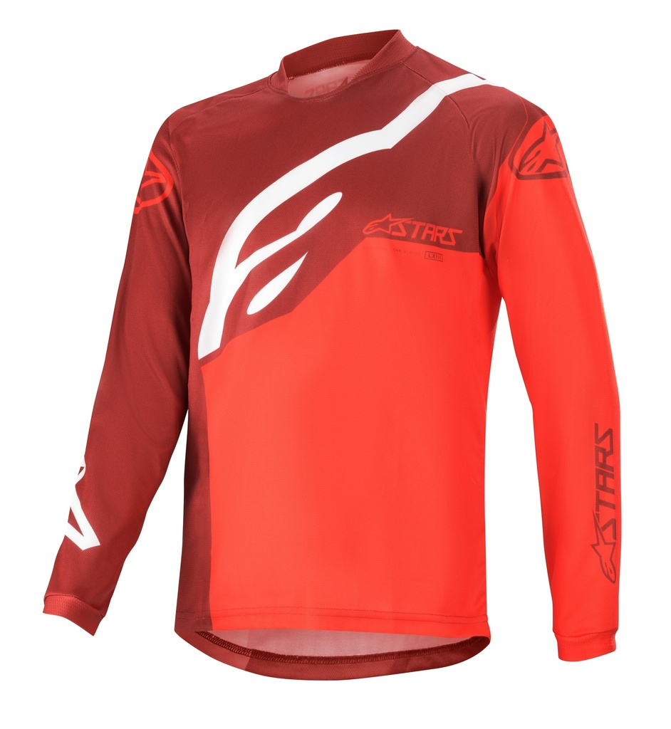 YOUTH RACER FACTORY LS JERSEY/BURGUNDY BRIGHT RED WHITE